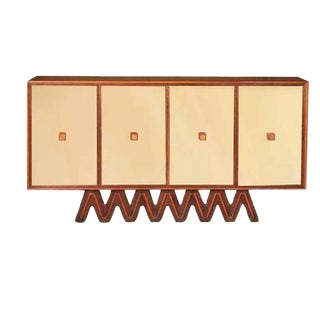 Osvaldo Borsani Rare Sideboard in Mirror and Cherrywood and Oak For Sale