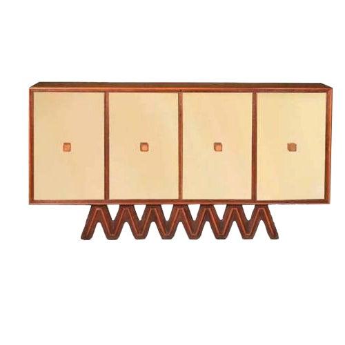 Osvaldo Borsani Rare Sideboard in Mirror and Cherrywood and Oak For Sale