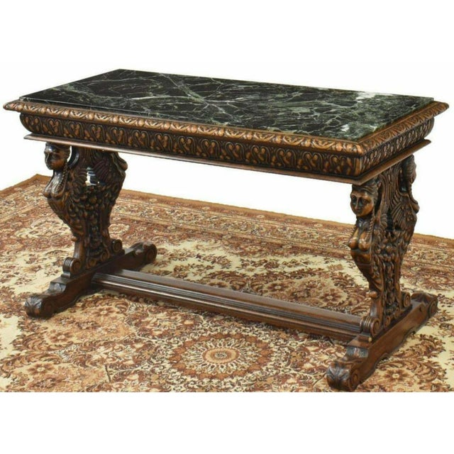 Antique Renaissance Style Figured Carved Marble-Top Coffee Table For Sale - Image 4 of 7