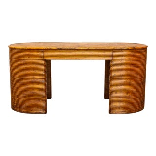 French Rattan Art Deco Desk