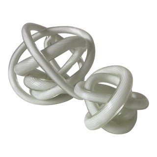 Murano White Spun Glass Knots - Set of 2 For Sale
