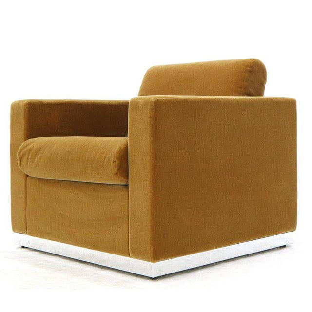 Mid-Century Modern three pieces mohair living room set two club lounge chairs and one love seat sofa. Seating on high...