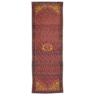 Vintage Persian Malayer Hallway Runner Saturated Colors and Geometric Repetition For Sale