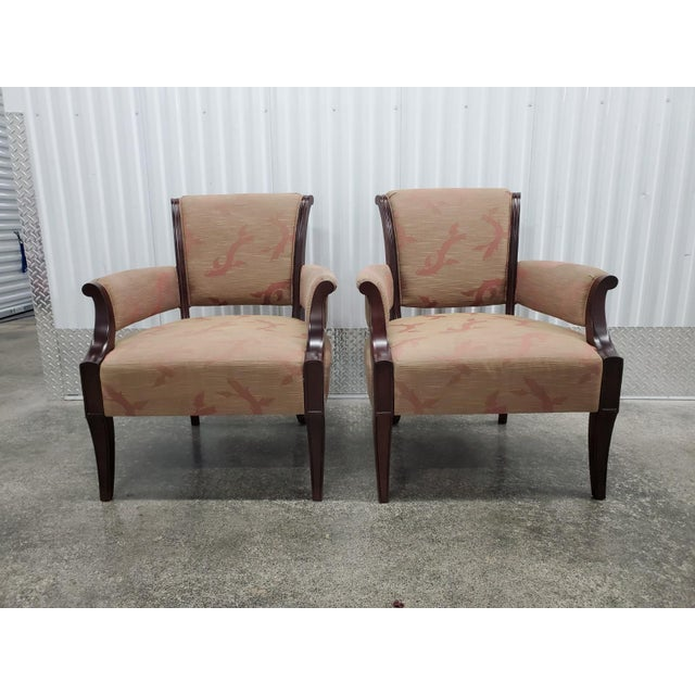 Chic Barbara Barry Lounge Chairs for Baker Furniture sold as foun in vintage condition in neeed of new upholstery.