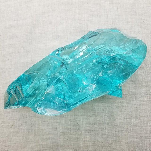 Aqua Slag Glass Sculpture For Sale - Image 9 of 9