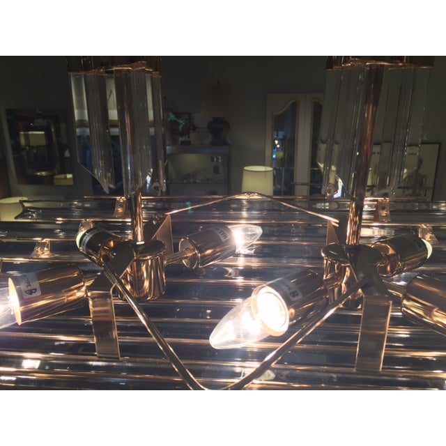 1970's Lucite and Brass Pendant Chandelier - Image 10 of 11