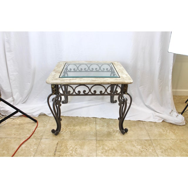 Vintage Marble And Glass Top Wrought Iron Coffee Table Chairish