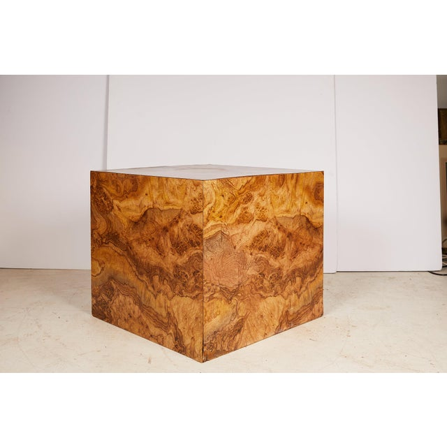 Midcentury Burled Wood Laminate Cube For Sale In Atlanta - Image 6 of 13
