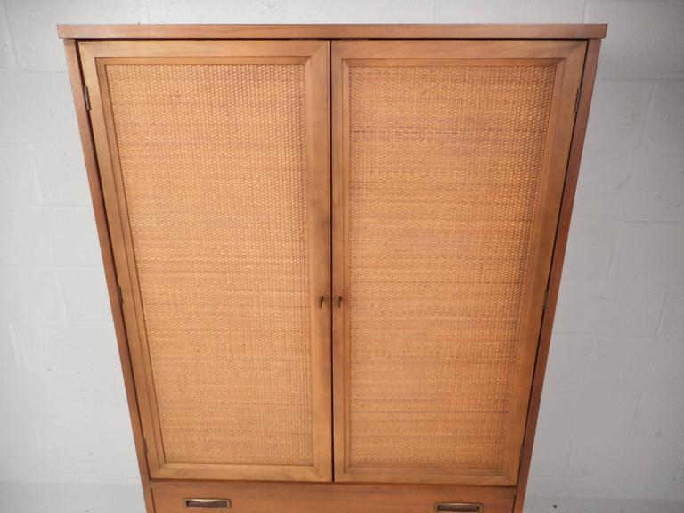 Mid Century Modern Cane Front Armoire Dresser   Image 4 Of 9