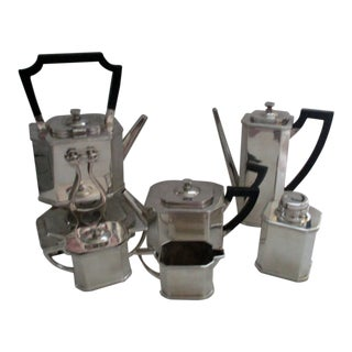 Lawrence B. Smith Co. Art Deco Silver Plate and Black Ebonized Wood 7 Piece Coffee and Tea Service For Sale