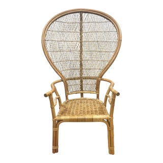 1960s Vintage Wicker Rattan Peacock Wingback Chair For Sale