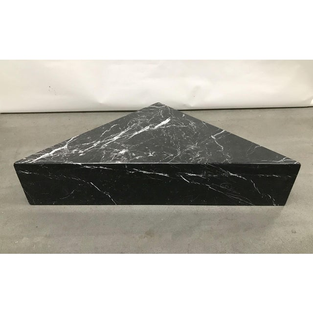1970s Black Marble Triangular Coffee Table For Sale - Image 11 of 13