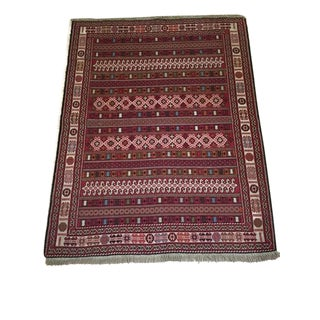 Vintage Turkish Rug Soumak Textile Rug Wall Hanging Textile Wall Art For Sale