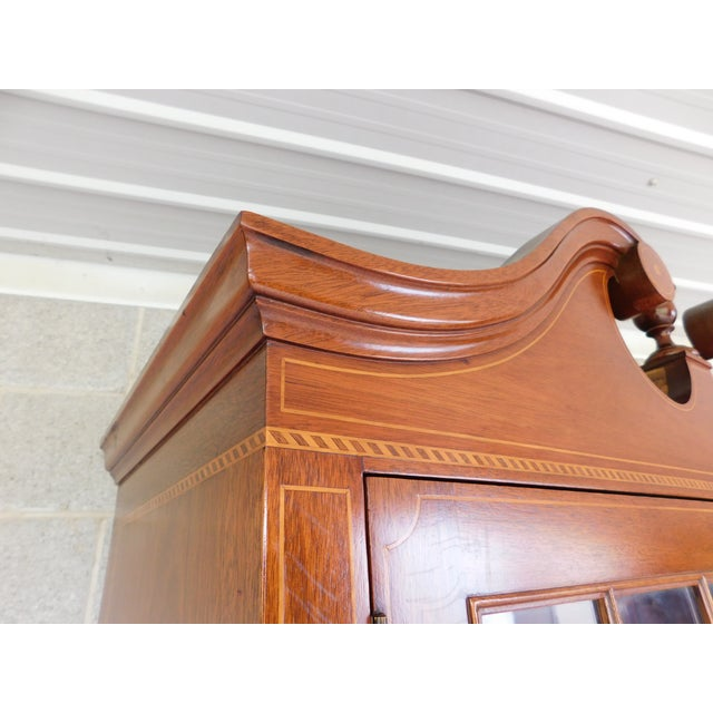"Biggs Federal Hepplewhite Style 1Pc Mahogany Banded Cabinet 90""h X 40""w For Sale - Image 9 of 13"