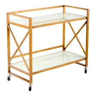 Zoe White Frosted Glass Bar Cart