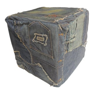 Vintage Indigo and Pre-Washed Distressed Denim Patchwork Square Ottoman