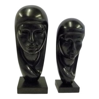 1950s South American Pair Wooden Sculptures Signed Arias - a Pair For Sale