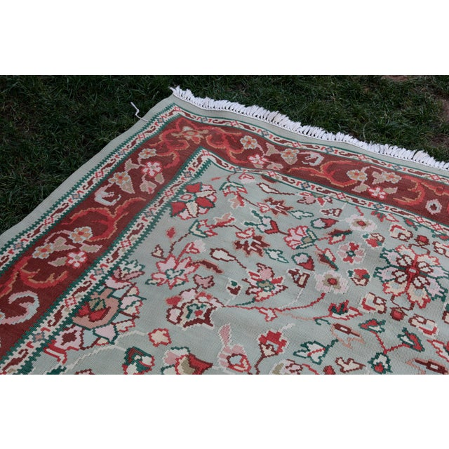 1950s Vintage Floral Wool & Cotton Kilim - 6′8″ × 9′4″ For Sale In Baltimore - Image 6 of 13