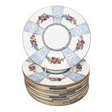 Image of Early 20th Century Crown Staffordshire Floral Dinner Plates - Set of 12 For Sale