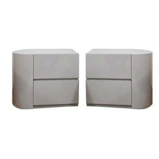 Late 20th Century Vintage Modern Gray Laminate Nightstands - A Pair For Sale