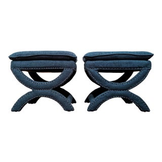 Regency-Style Sculptural Ottomans, a Pair For Sale
