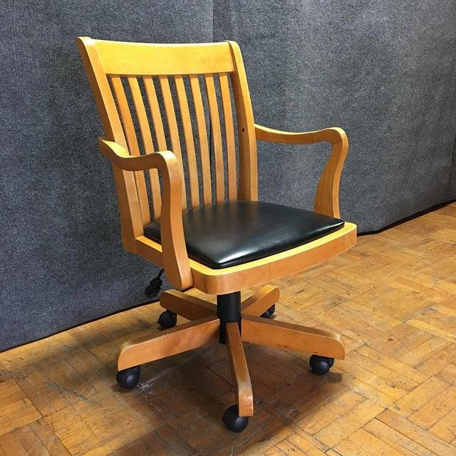 Adjustable Wood Banker's Desk Chair - Image 2 of 8
