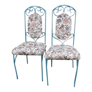 Wrought Iron Dining Chairs with Floral Print Cushions - a Pair For Sale