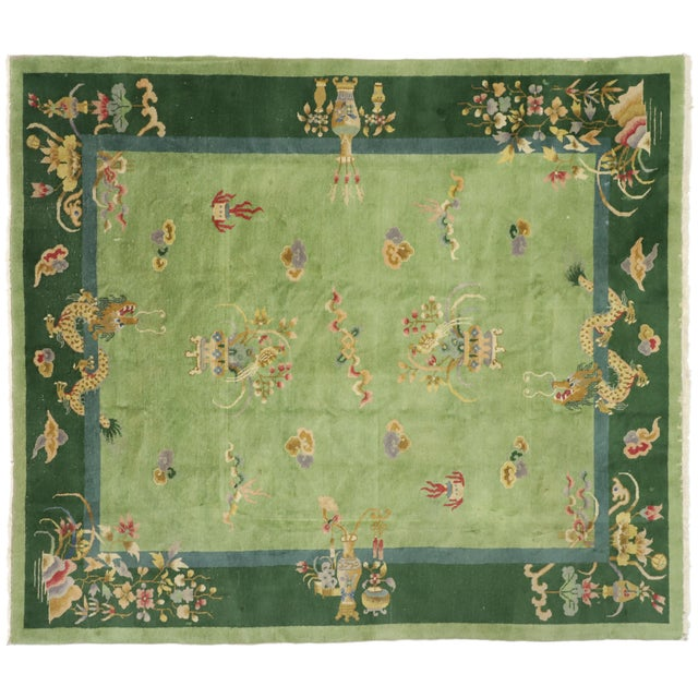 Green Antique Chinese Art Deco Rug - 7′8″ × 8′9″ For Sale - Image 9 of 9