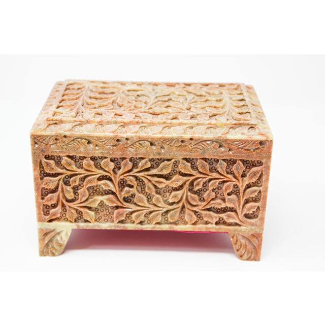 Red Hand-Carved Stone Jewelry Box Rajasthan, India For Sale - Image 8 of 13