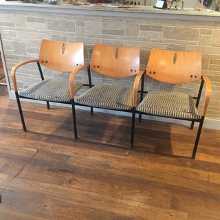 Modern Eames Atomic Style 3 Seat Chair Bench Preview