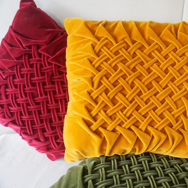 Ruby Red Velour Lattice Pattern Pleated Pillows - Set of 3 For Sale - Image 8 of 9