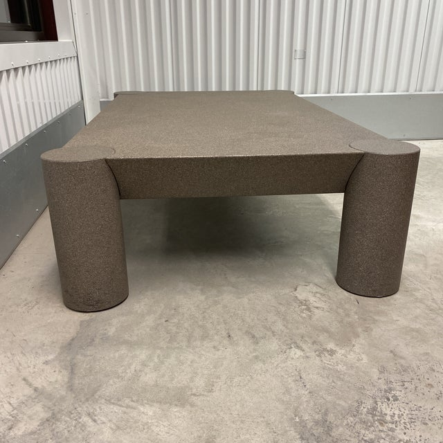 Grey Postmodern Beveled Coffee Table With Thick Column Legs For Sale In New York - Image 6 of 13