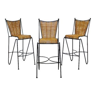 Mid Century Modern Set of 3 Barstools by Pipsan Saarinen Swanson Iron Cane 1960s For Sale