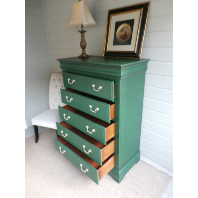 Paint Vintage Hand-Painted Highboy Chest Dresser For Sale - Image 7 of 11