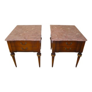 Vintage Pink Marble French Side Tables - a Pair