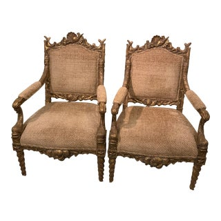 Modern Tomlinson Hand Carved Seashore Themed Accent Chairs- A Pair For Sale