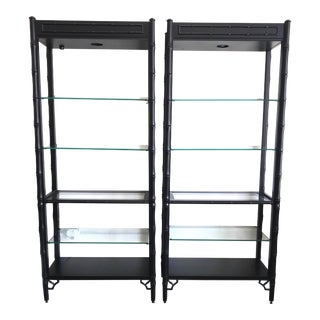 Satin Black Faux Bamboo Wood Etageres - a Pair For Sale