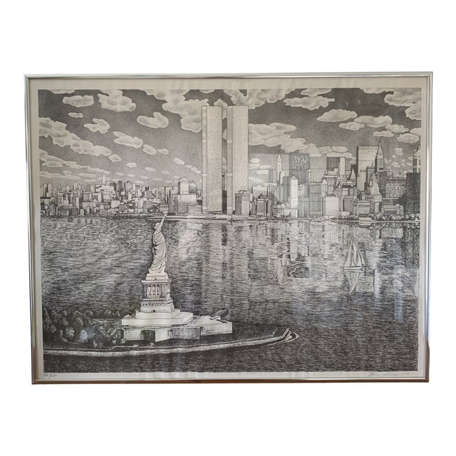 Vintage New York City Pen and Ink Drawing For Sale