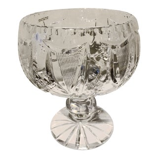 Harp Design Cut Crystal Compote From Ireland For Sale