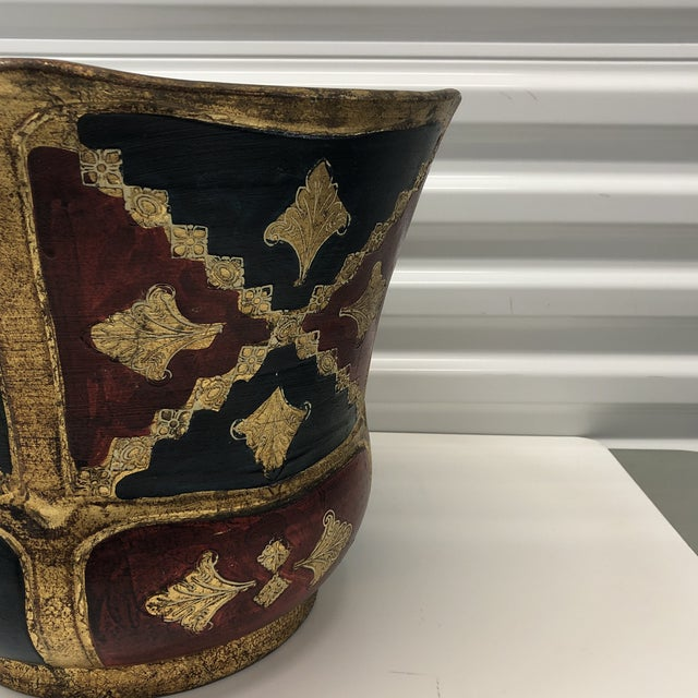 Vintage Florentine Terracotta Hand Painted Planter For Sale In Miami - Image 6 of 7