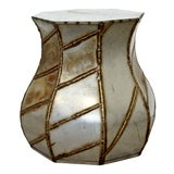 Image of Mid Century Modern Welded Metal Drum Side End Table Evans Argente Style 1970s For Sale
