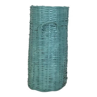 1970s Americana Teal Wicker Umbrella Stand