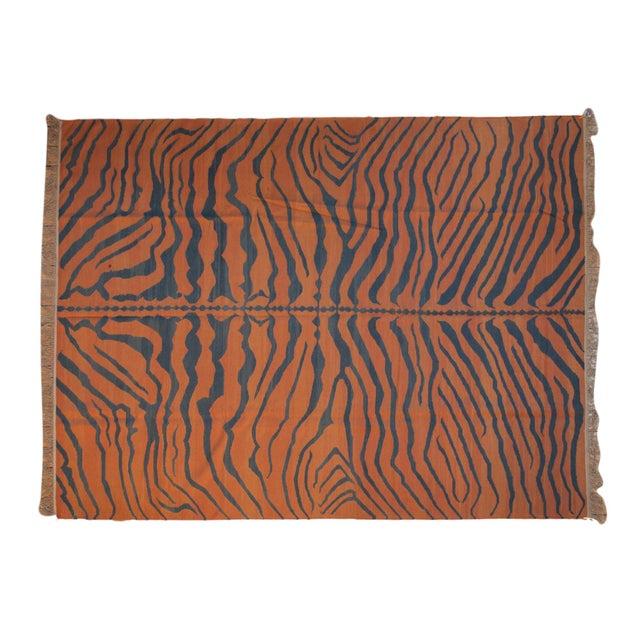 """Vintage Indian Tiger Kilim Design Carpet - 9'1"""" X 12'1"""" For Sale - Image 9 of 9"""