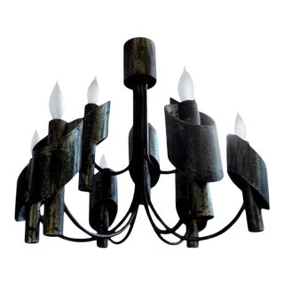 Italian Brutalist Steel Chandelier in the Style of Sciolari For Sale