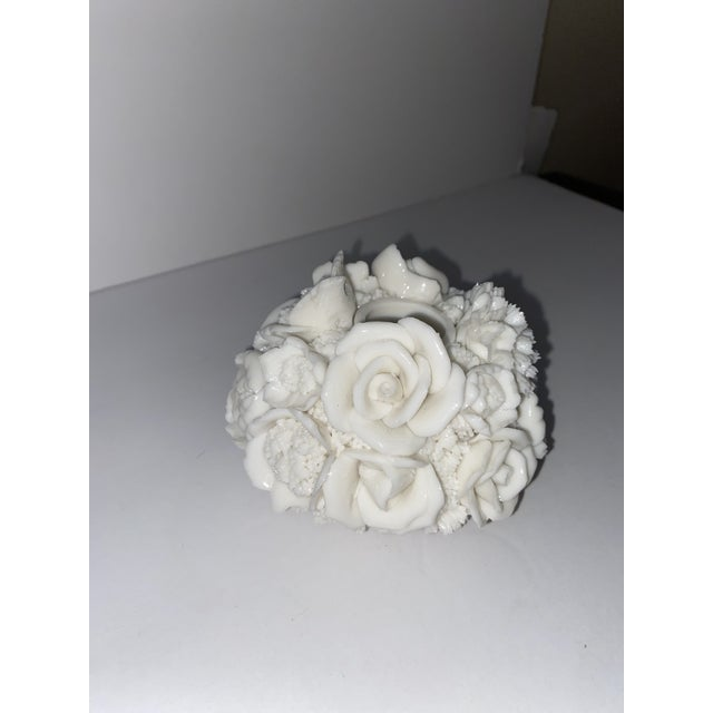 American Vintage Capodimonte Style Milk Glass Rose Floral in Basket Candle Holder For Sale - Image 3 of 8