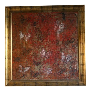 Hunt Slonem Red Butterfly Painting For Sale