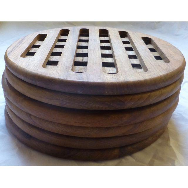 Mid-Century Danish Modern Teak Hot Plates - Set of 6 - Image 4 of 8