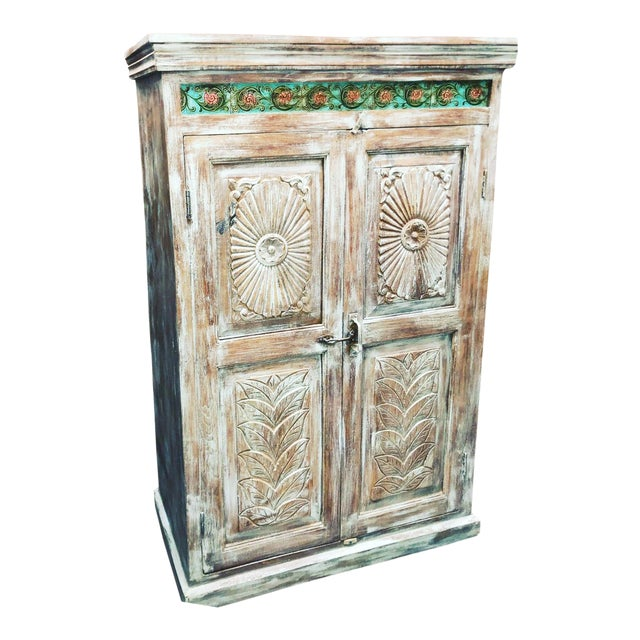 1920s Antique Carved Wood Armoire For Sale