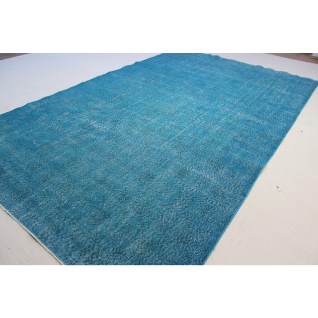 "Turquoise Turkish Over-Dyed Rug - 6'7"" X 10'10"" - Image 5 of 8"