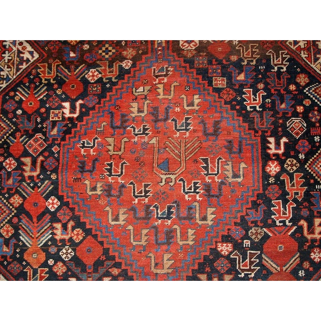 1880s Hand Made Antique Persian Khamseh Rug - 6' X 9' For Sale - Image 4 of 10